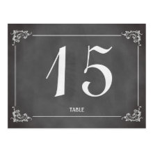 Vintage romantic chalkboard wedding table number post card