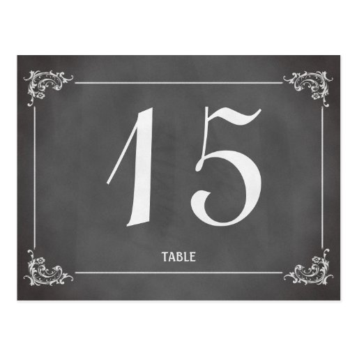 Vintage romantic chalkboard wedding table number post card