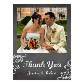 Vintage romantic chalkboard wedding thank you postcards