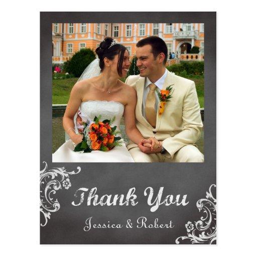 Vintage romantic chalkboard wedding thank you postcards