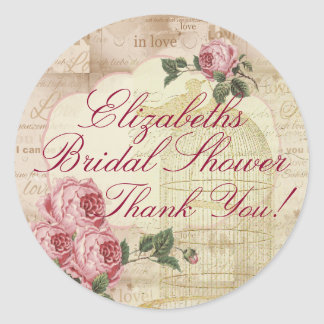 Vintage Romantic Chic Bridal Shower Thank You Classic Round Sticker