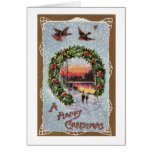 Vintage Romantic Christmas Scene with Robins Greeting Card