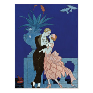 "Vintage Romantic Couple ~ ""Oui"" Postcard"