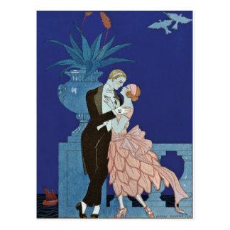 """Vintage Romantic Couple ~ """"Oui"""" Postcard"""