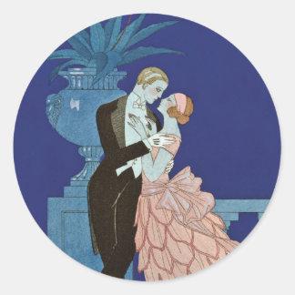 """Vintage Romantic Couple ~ """"Oui"""" Sticker"""