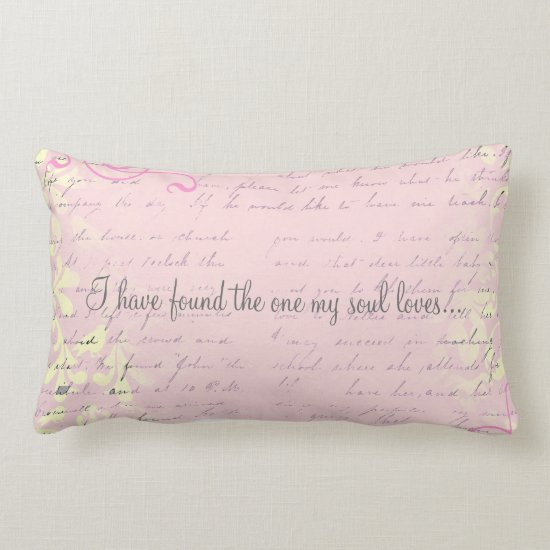 Vintage Romantic Damask with Bible Verse Lumbar Pillow