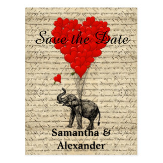 Vintage romantic elephant save the date postcard