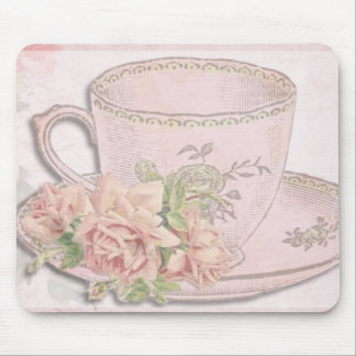 Vintage romantic english tea cup mouse pad