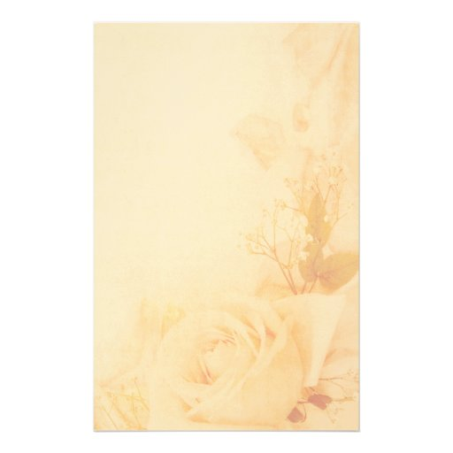 Vintage Romantic Faded Rose Parchment Stationery