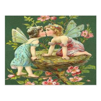 Vintage Romantic Fairies Kissing Each Other Postcard