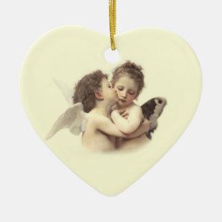 Vintage Romantic First Kiss Couple's Keepsake Double-Sided Heart Ceramic Christmas Ornament