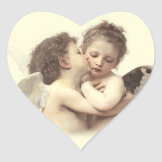 Vintage Romantic First Kiss Heart Sticker