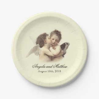 Vintage Romantic First Kiss Paper Plate