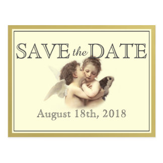 Vintage Romantic First Kiss Save the Date Postcard
