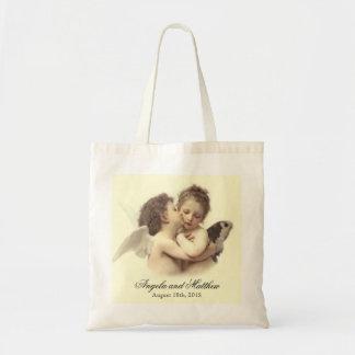 Vintage Romantic First Kiss Wedding Tote Bag