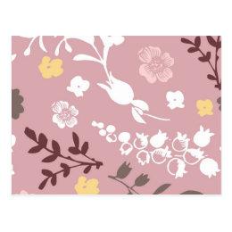 Vintage Romantic Floral Pattern Pink Postcard
