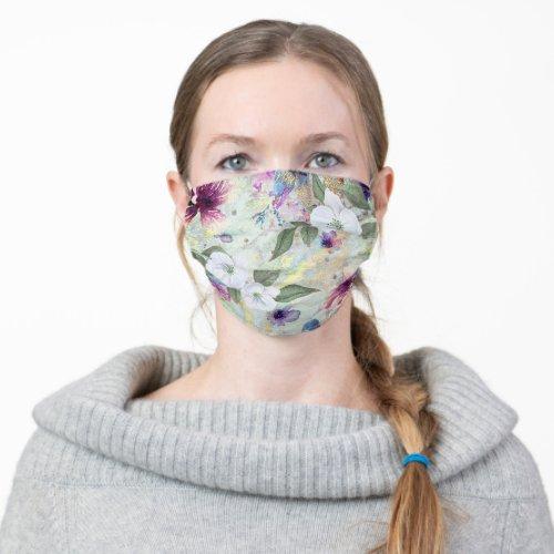 Vintage romantic floral seafoam aqua watercolor cloth face mask