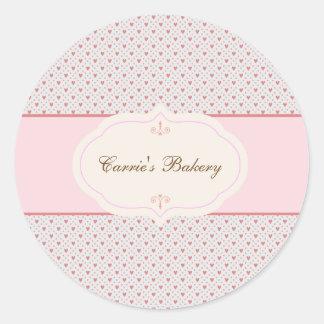 Vintage Romantic Frame Bakery Label Classic Round Sticker