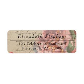 Vintage Romantic French Ephemera Floral Label