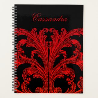 Vintage Romantic Goth in Blood Red Personailized Planner