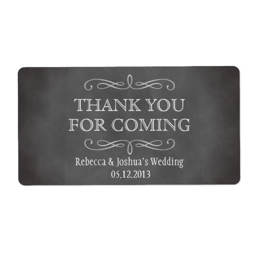 Vintage romantic gray chalkboard scroll favor personalized shipping label
