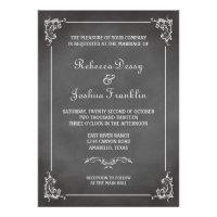 Vintage romantic gray chalkboard scroll wedding custom invite