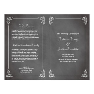 "Vintage romantic gray chalkboard wedding program 8.5"" x 11"" flyer"