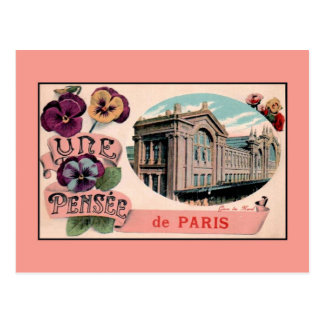 Vintage romantic greetings from Paris RR Station Postcard