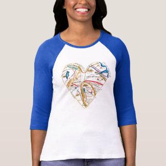 Vintage Romantic Heart Map of Love Emotions Odd T-Shirt
