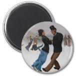 Vintage Romantic Ice Skaters 2 Inch Round Magnet