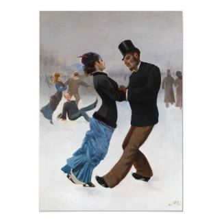 Vintage Romantic Ice Skaters Card