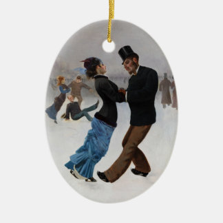 Vintage Romantic Ice Skaters Ceramic Ornament