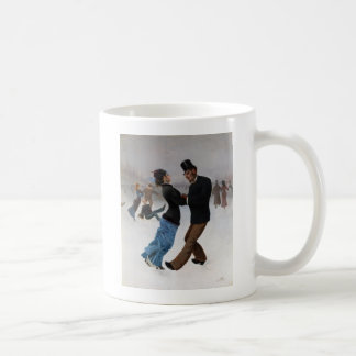 Vintage Romantic Ice Skaters Mugs