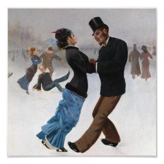 Vintage Romantic Ice Skaters Photo Art
