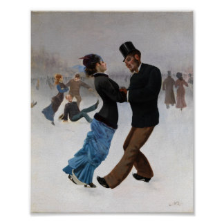 Vintage Romantic Ice Skaters Poster
