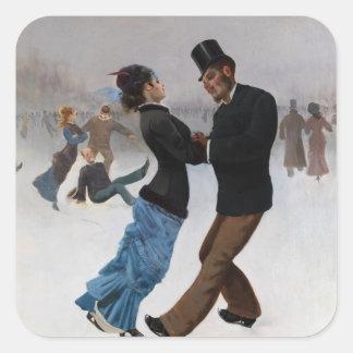 Vintage Romantic Ice Skaters Square Sticker
