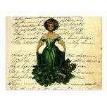 Vintage Romantic Irish Clover Dress Lady Post Cards