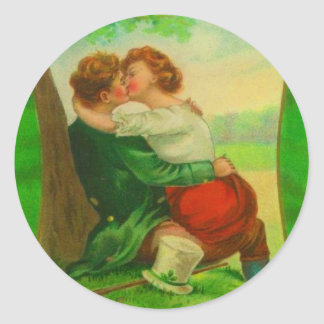 Vintage Romantic Irish Couple St Patrick's Day Classic Round Sticker