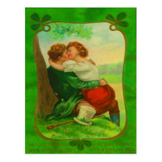 Vintage Romantic Irish Couple St Patrick's Day Postcard
