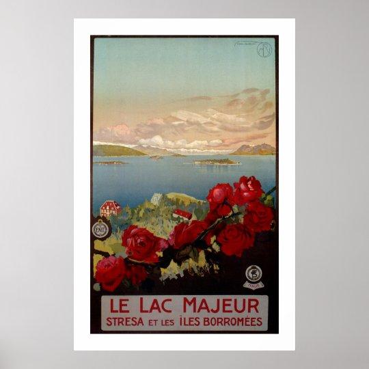 Vintage romantic Lake Maggiore Italian Travel Poster