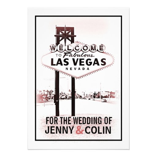 Vintage Romantic Las Vegas Modern Wedding Invites
