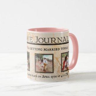 Vintage Romantic Love Newspaper Custom Photo Mug