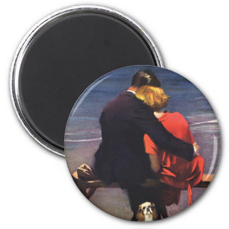 Vintage Romantic Love, Romance on the Beach Magnet
