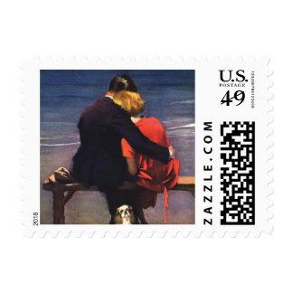 Vintage Romantic Love, Romance on the Beach Postage
