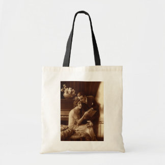 Vintage Romantic Music, Love and Romance Lovers Budget Tote Bag