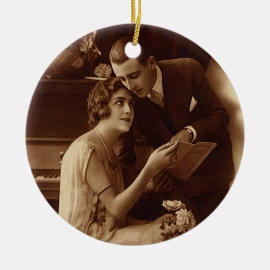 Vintage Romantic Music, Love and Romance Lovers Ceramic Ornament