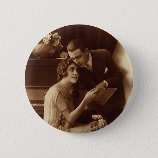 Vintage Romantic Music, Love and Romance Lovers Pinback Button