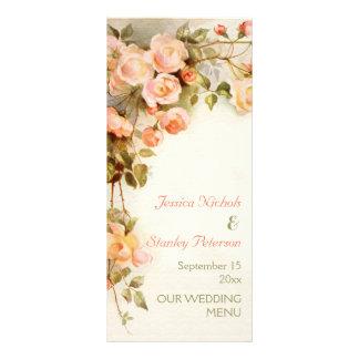 Vintage romantic painting of roses wedding menu