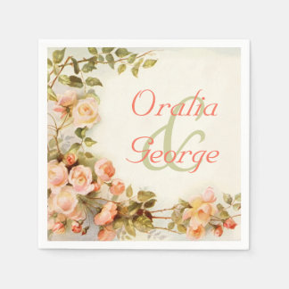 Vintage romantic painting of roses wedding paper napkin