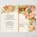 """Vintage romantic painting of roses wedding program<br><div class=""""desc"""">Vintage romantic painting of roses folded wedding ceremony and party program that features a bunch of English rose flowers in pink, peach and coral with green leaves. This elegant and romantic nature inspired floral design is based on a vintage fine art painting and carries a feel of the English romance...</div>"""